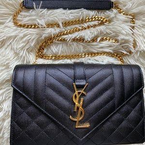 Saint Laurent (YSL) Envelope Matelasse Grain de Poudre Black Leather Crossbody